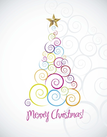 merry chritmas card with tree over gray background Stock Vector - 15285862