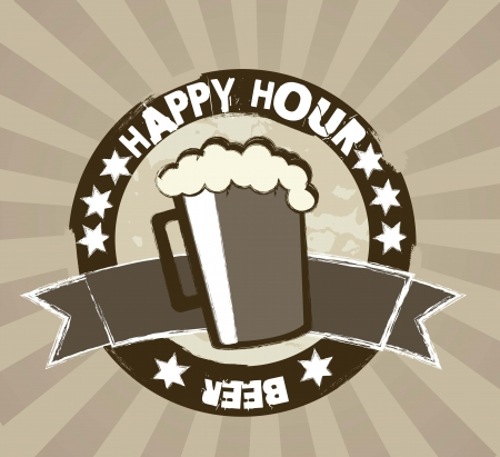 happy hour tag over brown background Vector