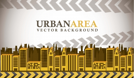 urban area: yellow buildings with space for copy, urban area Illustration