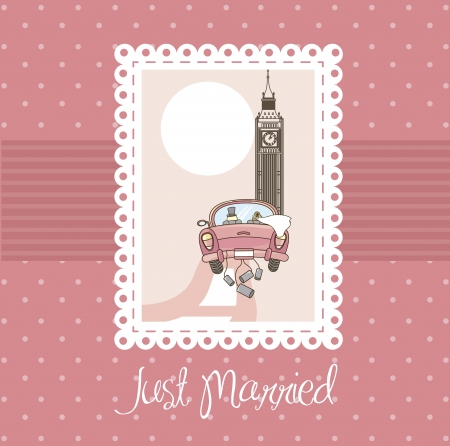 lady clock: pink just married card, background