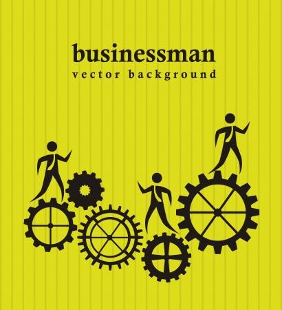 cogwheel: businessman over gears over green background