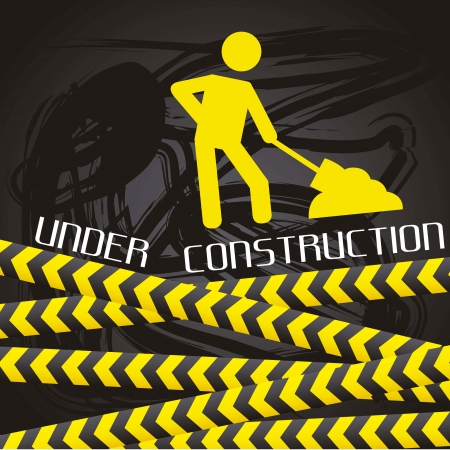 under construction over black background Stock Vector - 15285842