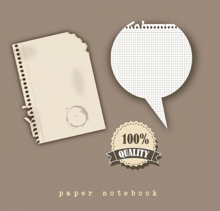 old notebook: paper notebook with tag and balloons text, vintage style