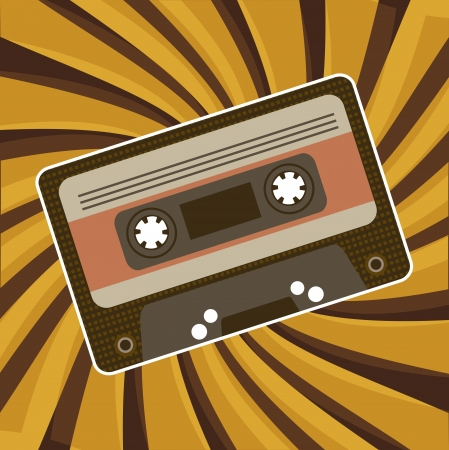 compact cassette: vintage cassette  over yellow and brown background Illustration