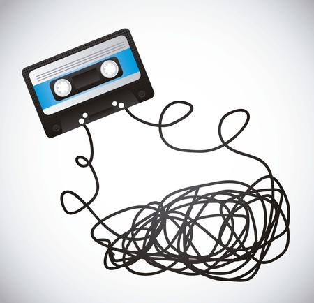 compact cassette: black cassette with tape over gray background Illustration
