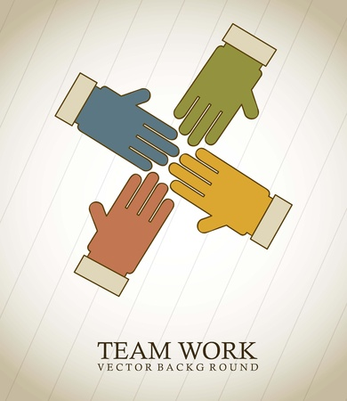 hands conceptual over vintage background, teamwork Vector