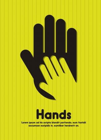 nursing treatment: manos negras siluetas sobre fondo verde Vectores