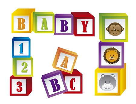 red cube: baby blocks with faces animals and letters