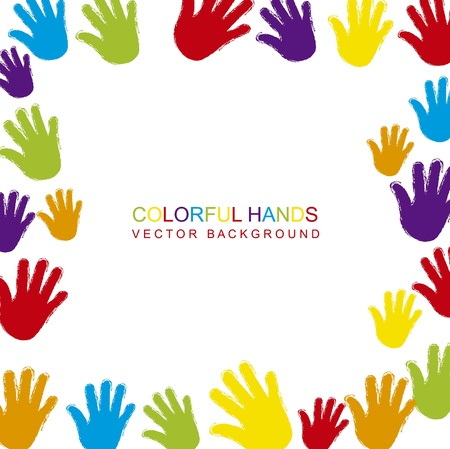 colorful hands with space for copy Ilustrace