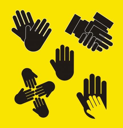 dedo me�ique: manos negras sobre fondo amarillo Vectores