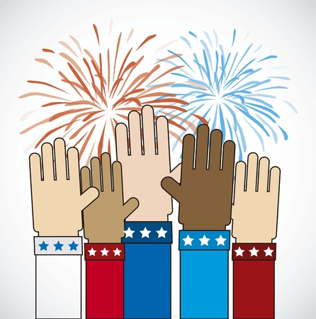 hands with firework over gray background Vector