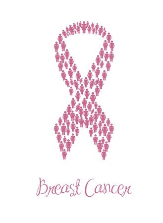 breast cancer awareness ribbons with woman sign Stock Vector - 15285885
