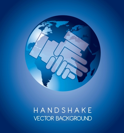 handshake over planet over blue background Vector