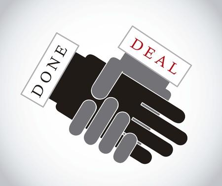 associate: hands businessman over gray background, done deal