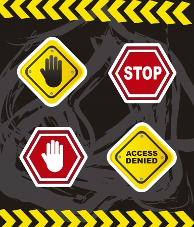 stop hand silhouette: stop signs with hands over grunge background Illustration