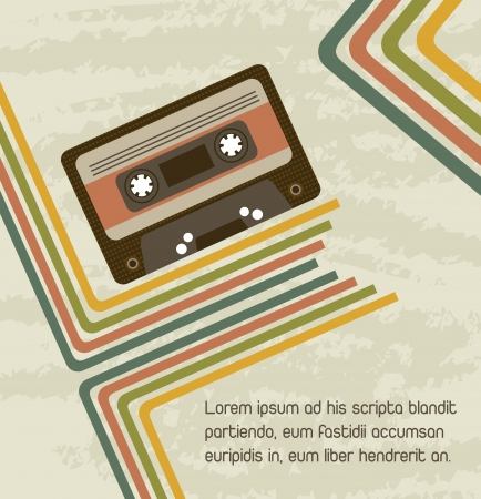 compact cassette: cassette with lines, vintage and grunge background