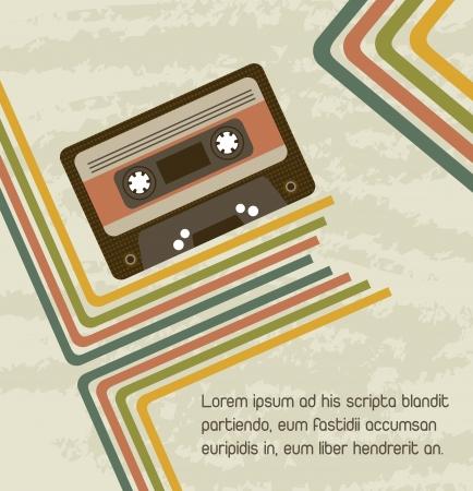 magnetofon: Kaseta z tła linie, rocznika i grunge Ilustracja