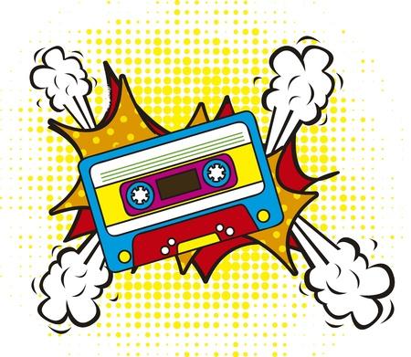 magnetofon: kolorowe kasety, stylu pop