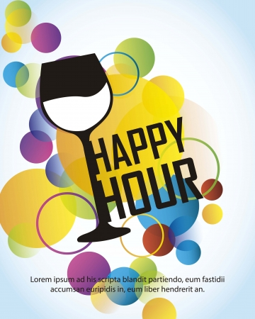 hour: happy hour with cup over colorful circles over blue background Illustration