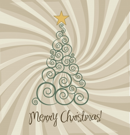 christmas treen vintage background Stock Vector - 15285866