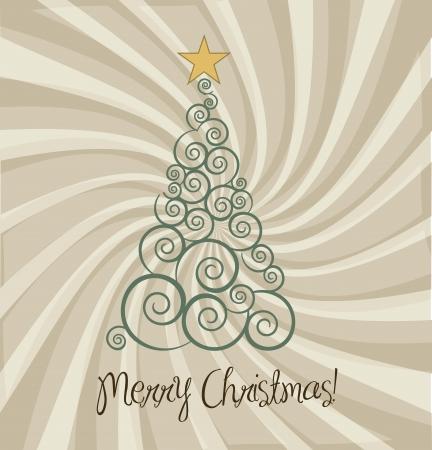 christmas treen vintage background Stock Vector - 15285866