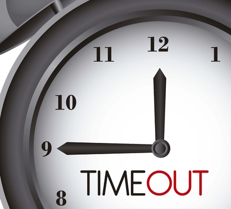 big timer: time out with clock alarm, close up Illustration
