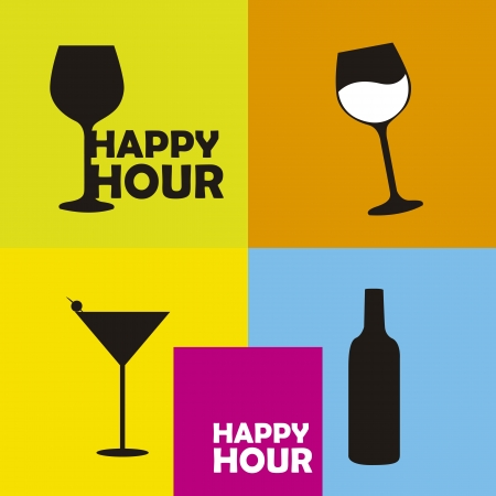 hour glasses: colorful happy hour signs background Illustration