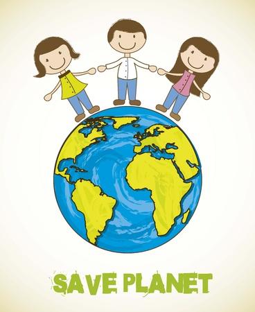 cartoon planeet met mensen, sparen planeet