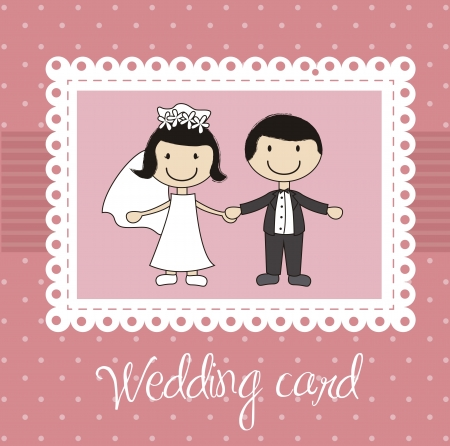 newlyweds: pink wedding card with cute couple