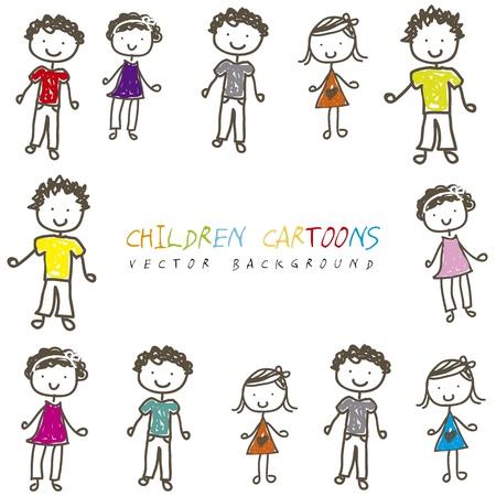 amistad: los niños dibujos animados sobre fondo blanco