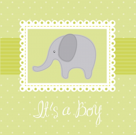green baby shower card with elephant Vector