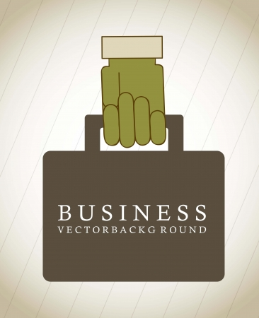 business suitcase with hand over vintage background Vector