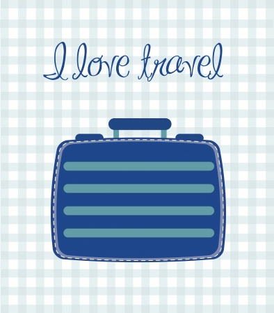 cute suitcase over square background Vector