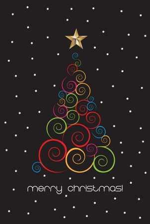 Merry christmas card with tree and star over black background Stock Vector - 15323384