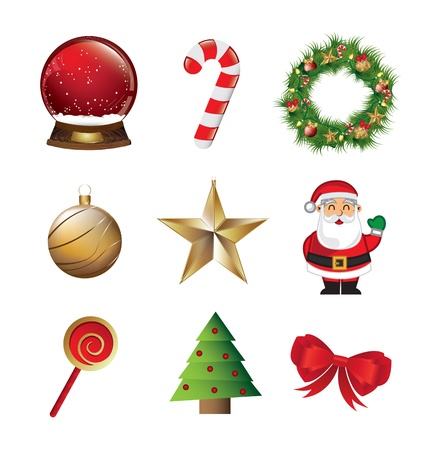 Christmas symbols like Santa Claus, star, tree, candy, snowball over white background Vector