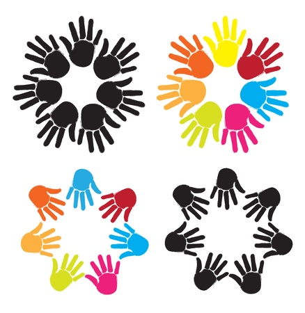 manos unidas: se unieron para formar círculos de diferentes colores sobre fondo blanco