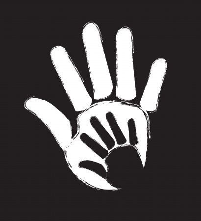 over sized: different sized hands stamped in token of union over black background Illustration