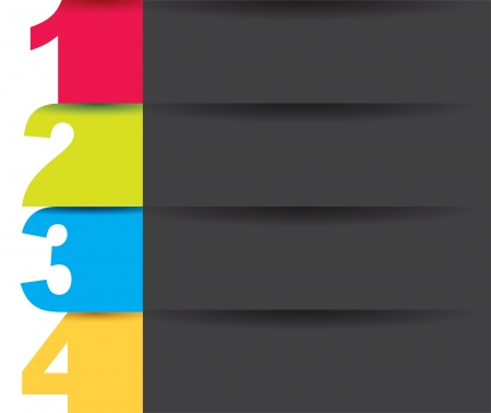 numbers of  colors to indicate the steps over black background Vector