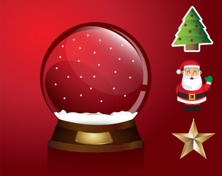 Christmas symbols around like a snowball tree, star, santa over red background Vector