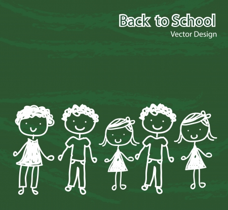 children chalked on a board  representing the back to school Vector