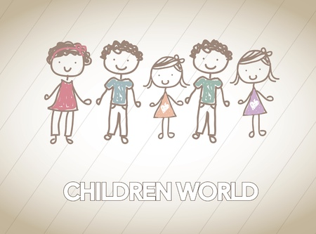children together in friendship over white background Vector