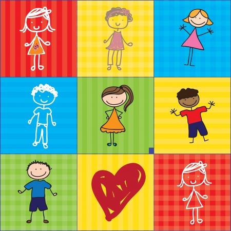 girls and boys over colorful backgrounds with a heart. Vector illustration Vector