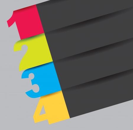 instructions: numero di colori con poche righe di colori. Illustrazione vettoriale