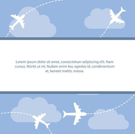 cute airple over sky background. vector illustration Vector
