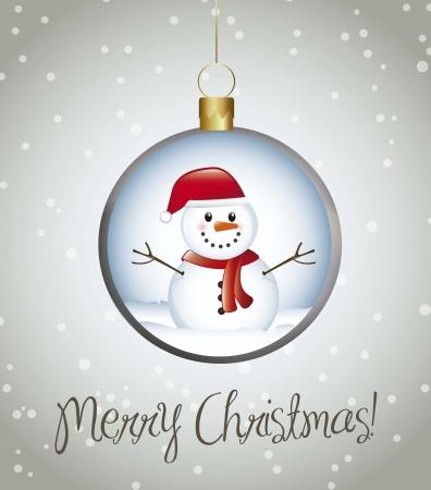 bolas de nieve: Feliz tarjeta de Navidad con bolas sobre fondo gris. vector