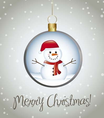 carrot nose: merry christmas card with balls over gray background. vector Illustration
