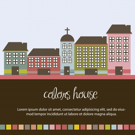 cute buildings with space for copy background. vector illustration Vector