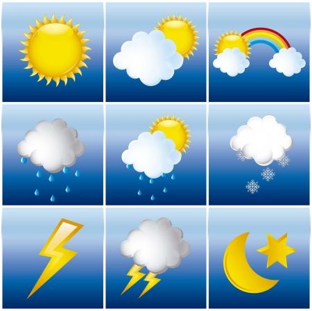 meteo: icone meteo con sole e pioggia. illustrazione vettoriale Vettoriali