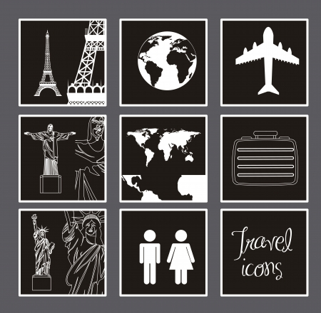 white and  black travel icons over gray background. vector illustration Vector