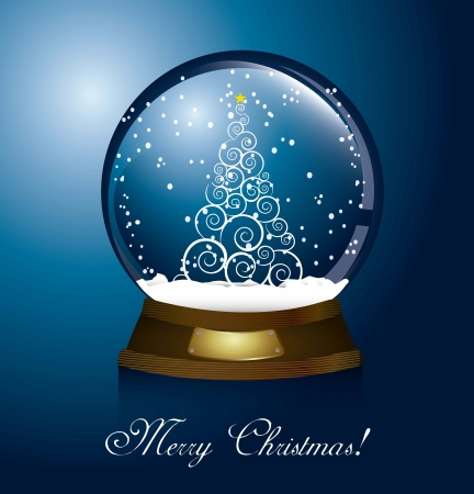 christmas globe with tree and snow. vector illustration Stock Vector - 15379486